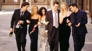 FRIENDS (NBC) season 6 1999-2000 Shown: David Schwimmer (as Ross Geller,) Jennifer Aniston (as Rachel Green), Courteney Cox (as Monica Geller), Matthew Perry (as Chandler Bing), Lisa Kudrow (as Phoebe Buffay), Matt LeBlanc (Joey Tribbiani)